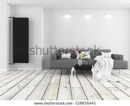 White Room Sofa Living Room Interior Stock Illustration 528856645 ...