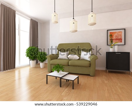 white room with a sofa. Living room interior. Scandinavian interior. 3d illustration
