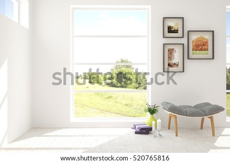 White Room With Chair And Green Landscape In Window Scandinavian Interior Design 3D Illustration