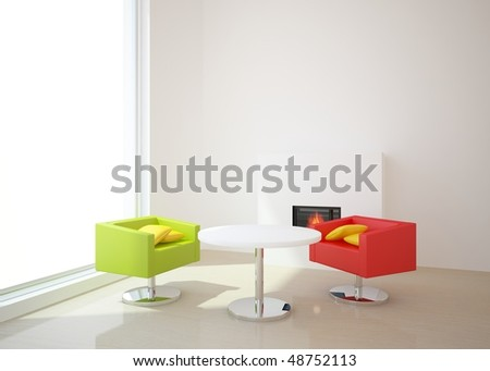 white room with colored chairs