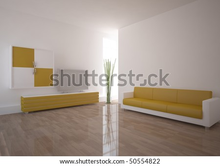white room with colored furniture