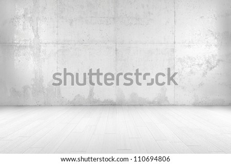 White room with copy space and wooden floor - stock photo
