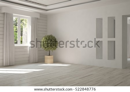 White room with flower and green landscape in window. Scandinavian interior design. 3D illustration