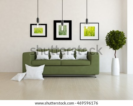 White room with green sofa. Living room interior. Scandinavian interior. 3d illustration