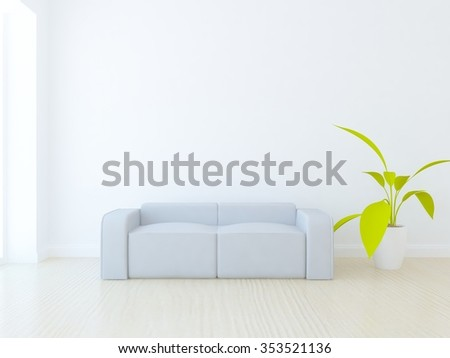 White room with grey sofa. 3d illustration