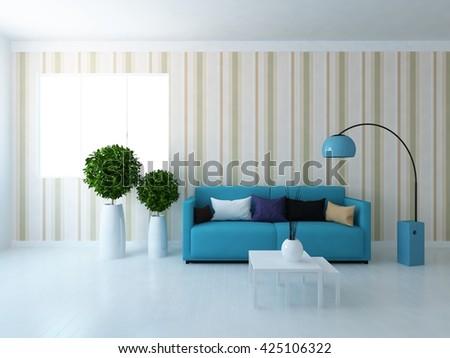 White room with serenity sofa. Living room interior. Scandinavian interior. 3d illustration - stock photo
