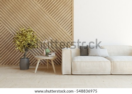 White Room Sofa Decorated Wall Scandinavian Stock Illustration ...