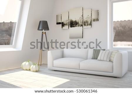 3d Rendering Yellow Sofa White Living Stock Illustration