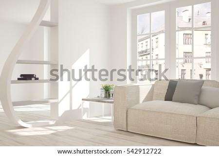 White Room Armchair Green Landscape Window Stock