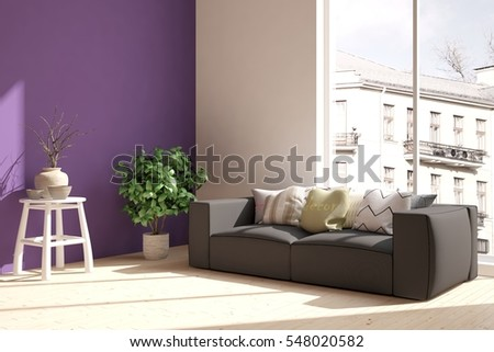 Modern Spacious Airy Living Room Interior Stock