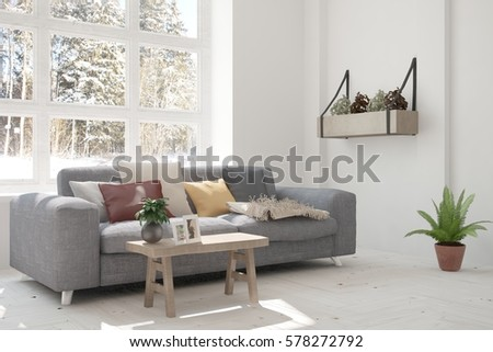 White Room With Sofa And Winter Landscape In Window. Scandinavian Interior  Design. 3D Illustration Part 89