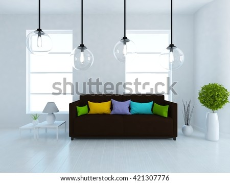 White room with sofa. Living room interior. Scandinavian interior. 3d illustration