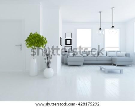White room with sofa. Living room interior. Scandinavian interior. 3d illustration - stock photo