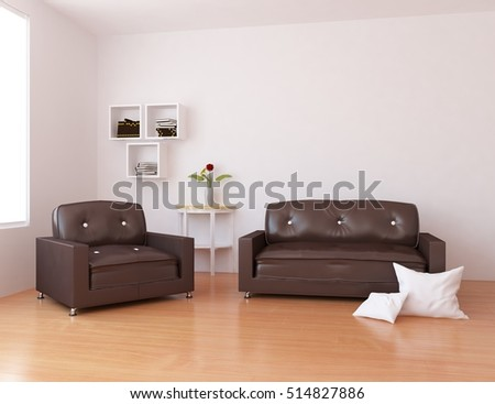 sofa pictures living room. white room with sofa  Living interior Scandinavian 3d illustration Stylish Room Grey Sofa Small Stock Photo 377848450
