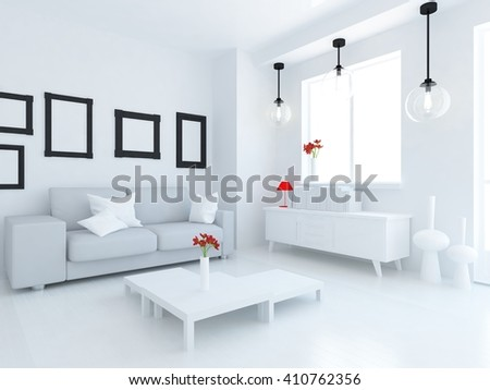 White room with sofa. Scandinavian interior.3d illustration