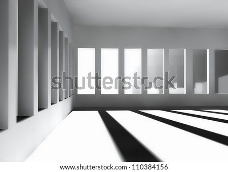 white room with sun light coming through the windows - stock photo