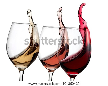 White, rose and red wine up - stock photo