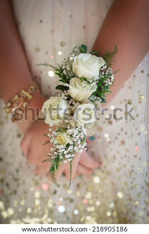 White rose corsage with gold  - stock photo