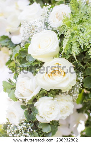 White roses decorated in wedding party