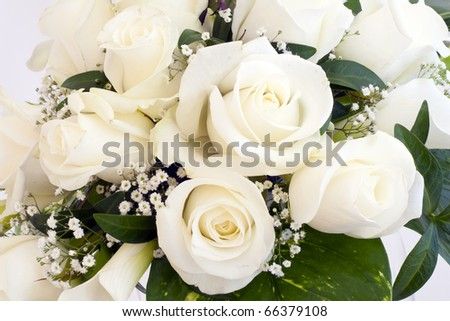 White roses, elegant bouquet tied. - stock photo