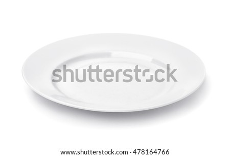 White round empty dinner plate isolated on white