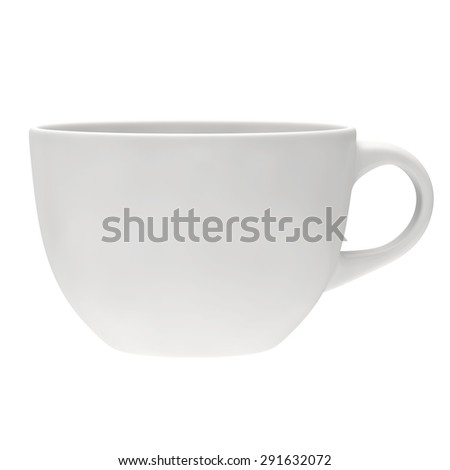 white round empty tea cup, side view