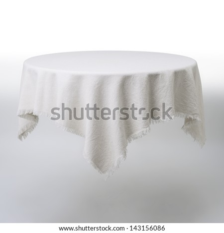 White round table and cloth - stock photo