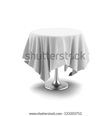 White round table and cloth isolated on a white background - stock photo