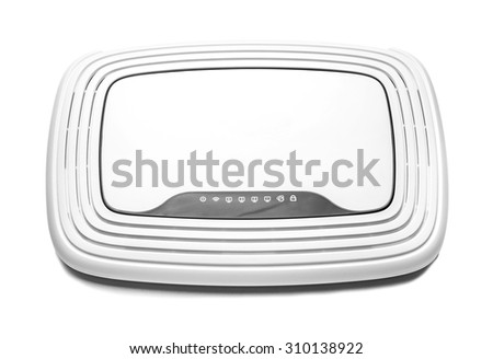White router isolated on a white background. - stock photo