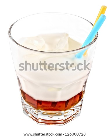 White russian cocktail isolated on white