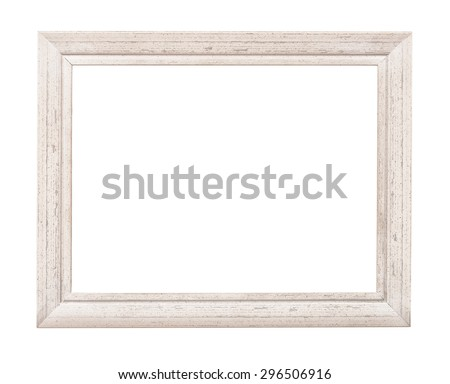 White rustic picture frame isolated on white - stock photo