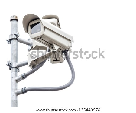 White safety camera with white isolated background - stock photo