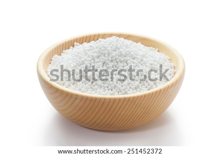 white sago pearls in wood bowl - stock photo