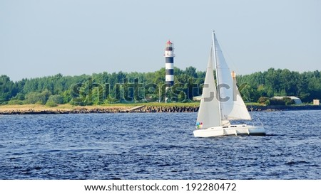 white sail yacht sailing. Riga, Latvia - stock photo
