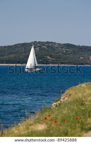 White sailing boat - stock photo
