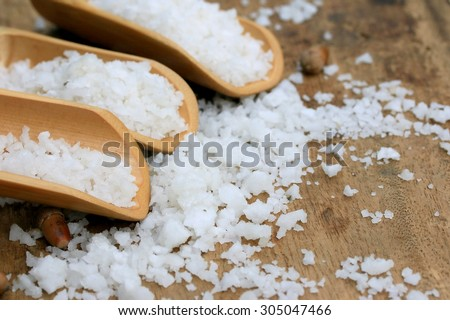 white salt on a wooden vintage - stock photo