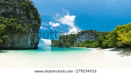 White sand beach at southern of Thailand - stock photo