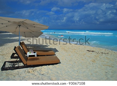 White sand Beach in Cancun, Mexico - stock photo