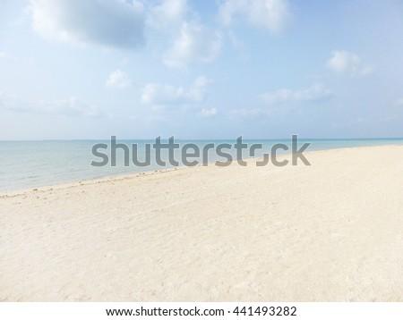 White sand beach in Okinawa, Japan. - stock photo