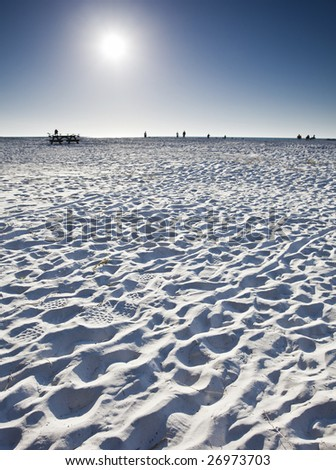 White sand beach on the gulf side of Florida. - stock photo
