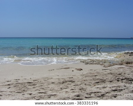 White sand beach on the Mediterranean Sea coastline, Sardinia
