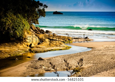 White sand beaches with blue sky and crystal water. - stock photo