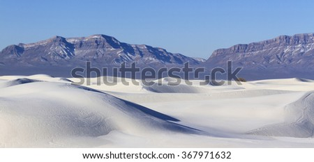 White Sand Dunes and San Andres Mountains, White Sands National Monument, New Mexico - stock photo