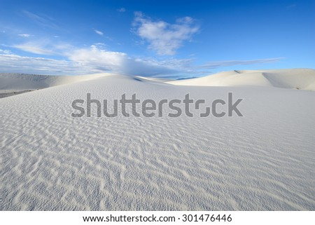 White Sand Dunes on Sunny Day - stock photo