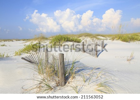 White Sand Florida Beach with Erosion Fence and Sea Oats  - stock photo