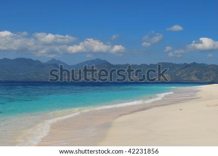 White sand paradise beach in Indonesia - stock photo