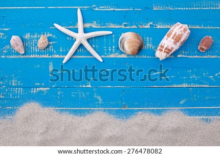 white sand star fish and shells on blue wooden background - stock photo