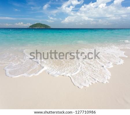 White sand tropical beach landscape, ko similan island, Thailand - stock photo