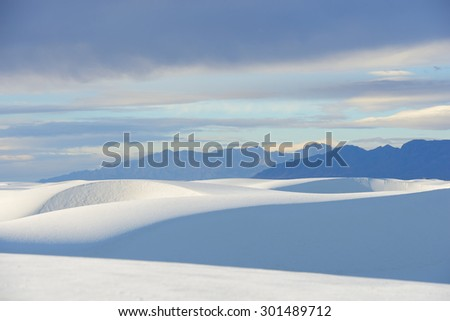 White Sands and Clouds at Sunrise - stock photo