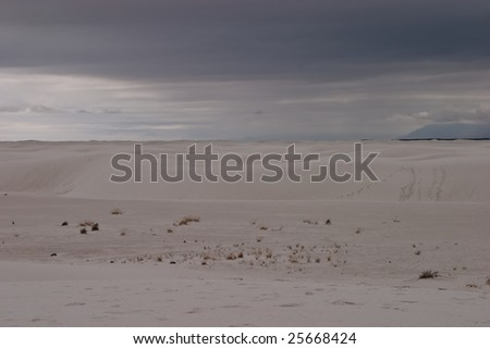 White Sands National Monument is a U.S. National Monument located about 25 km (15 miles) southwest of Alamogordo in western Otero County and northeastern Dona Ana County in the state of New Mexico - stock photo